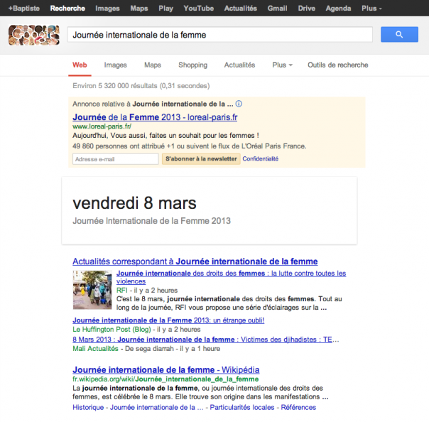 Google : SERPS de la journée internationale de la femme