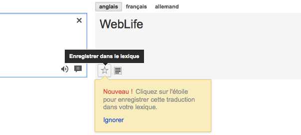 Google Traduction : Lexique, pour enregistrer ses traductions