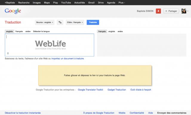 Google Traduction : Glisser-déposée d'URL