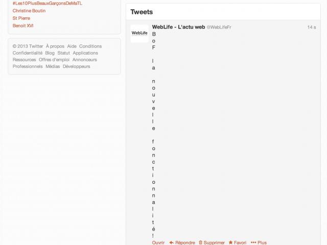 Tweet avec retour à la ligne