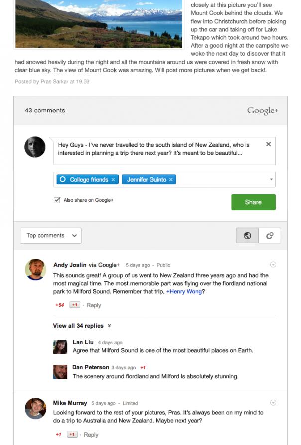 Blogger : Conversations dans les commentaires Google+