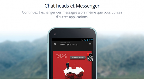 Facebook Home : Chat heads et Messenger