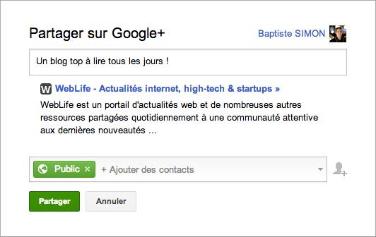 Google : Partage Google+ depuis les SERPS