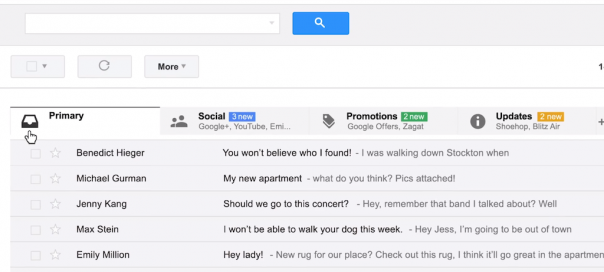 Gmail : Nouvelle boîte de réception en détails
