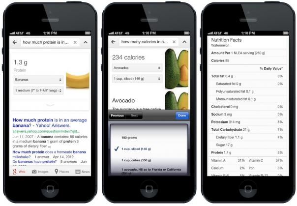 Google : Information nutritionnelle de la banane, de l'avocat et de la pastèque