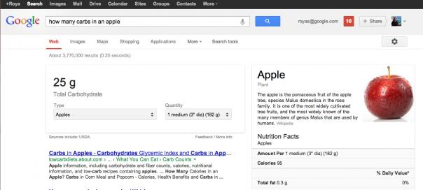 Google : Information nutritionnelle des aliments dans les SERPS