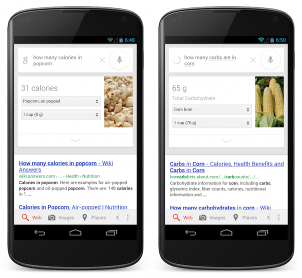 Google : Information nutritionnelle du popcorn et du maïs