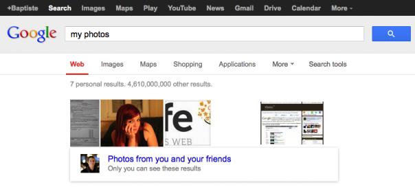 Google : Vos photos et celles de vos amis dans les SERPS
