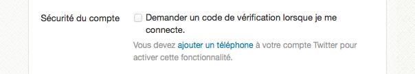 Twitter : Code de vérification par téléphone