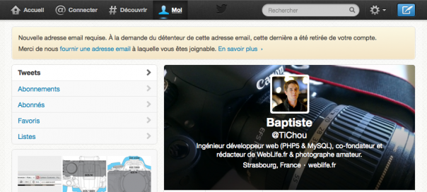Twitter : Nouvelle adresse email requise