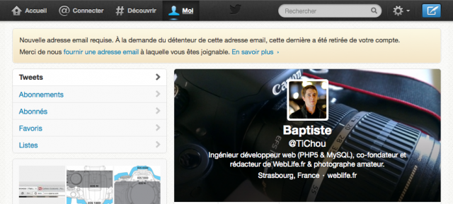 Twitter : Message d'avertissement - Nouvelle adresse email requise