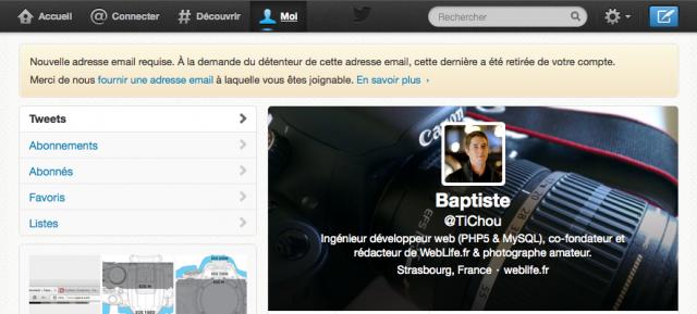 Twitter : Message d'avertissement - Nouvelle adresse email requise