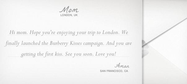 Burberry Kisses : Envoyer des bisous avec Google & Burberry