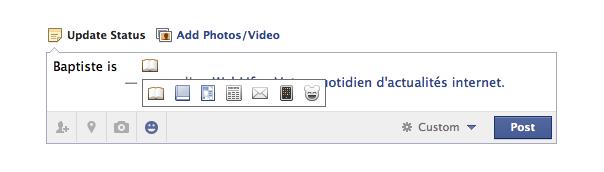 Facebook : Icônes des statuts action
