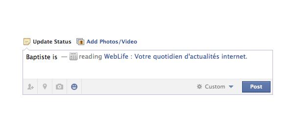 Facebook : Statuts action avec smiley sur le réseau social