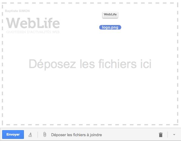 Gmail : Images en pièce jointe par glisser-déposer