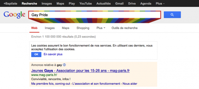 Google : Gay Pride - Couleurs de l'arc-en-ciel