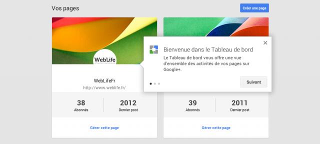 Google Plus : Tableau de bord