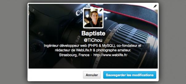 Twitter : Edition des infos du profil simplifiée