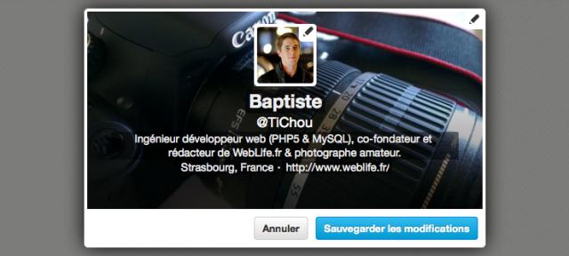 Twitter : Editer le profil