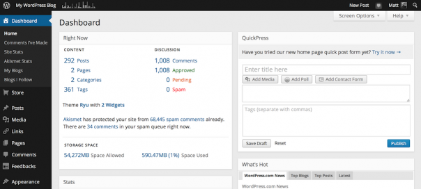 WordPress.com : Nouvelle interface pour la console d'admin