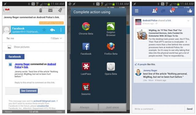 Android : Ouverture liens Facebook