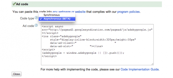 Google AdSense : Code d'annonce asynchrone disponible