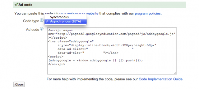 Google AdSense : Code d'annonce asynchrone