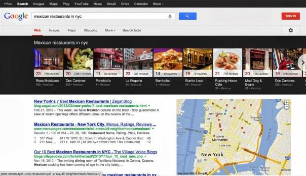 Google : Carrousel pour les recherches locales