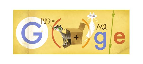 Google : Erwin Schrödinger, équation et chat en doodle