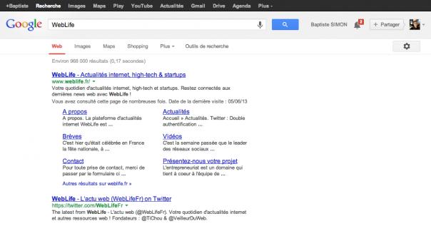 Google : Interface utilisateur actuelle