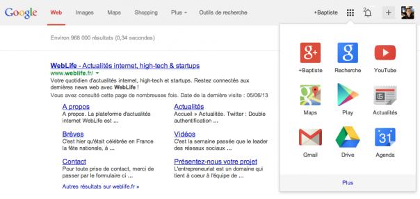 Google : Menu de navigation de la nouvelle interface utilisateur