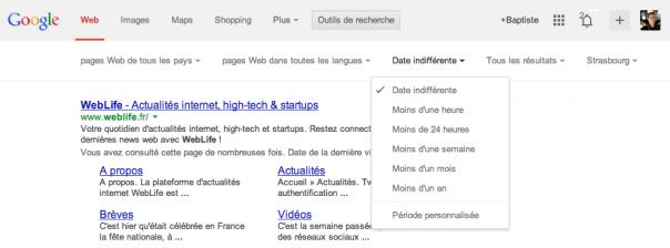 Google : Outils de recherche de la nouvelle interface utilisateur