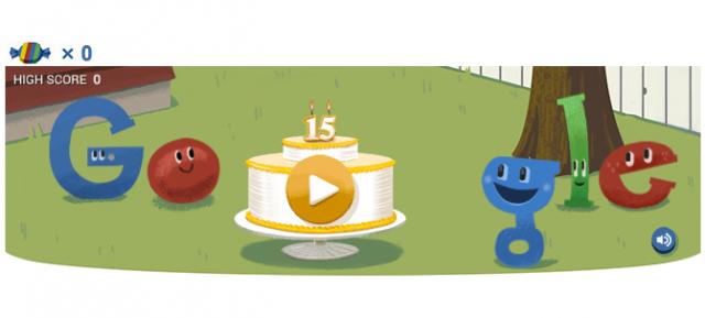 Google : Doodle gâteau pour ses 15 ans