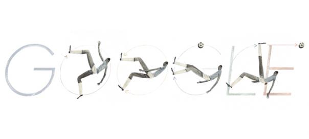 Google : Leônidas da Silva et sa bicyclette en doodle