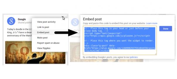 Google+ : Intégrations des publications sur des sites tiers