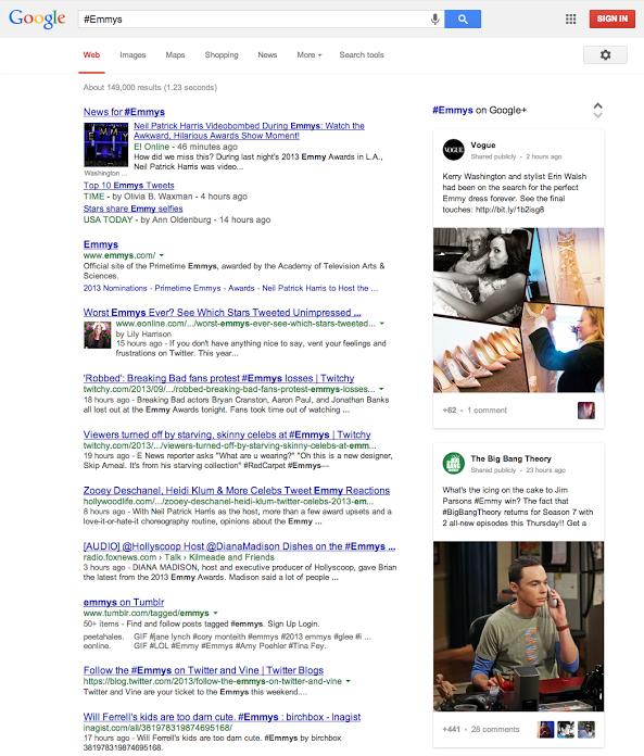 Google : Recherche via Hashtags
