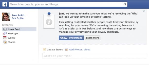 """Journal Facebook : Suppression de l'option """"Afficher en tant que"""""""