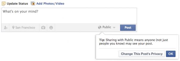 Facebook : Statut et visibilité