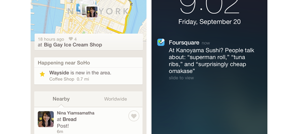 Foursquare : Nouvelle application mobile