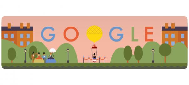 Google : André-Jacques Garnerin et son parachute en doodle