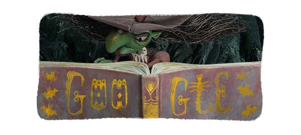 Google : Sorcière Halloween, doodle chaudron & potion magique