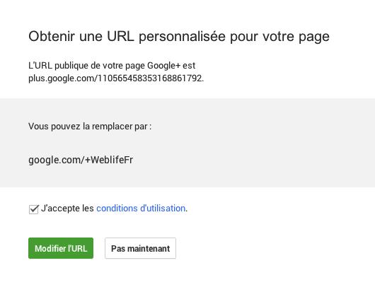 Google+ : URL personnalisée - Choix