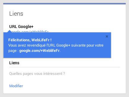 Google+ : URL personnalisée - Message