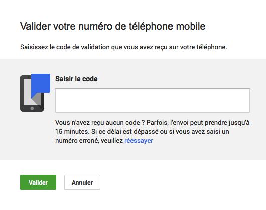 Google+ : URL personnalisée - Numéro de téléphone mobile - Code