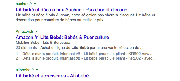 Google : Snippet - Domaines avant titre & description