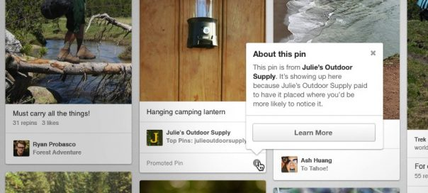 Pinterest : La publicité (Promoted Pins) en place