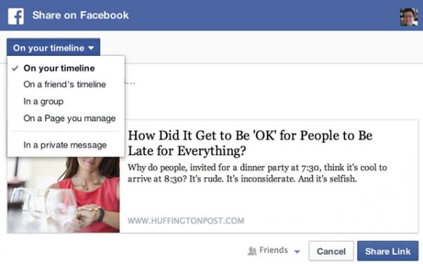 Facebook : Bouton Partager