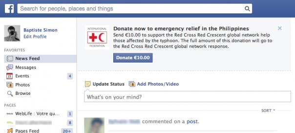 Facebook : Don à la Croix-Rouge pour les Philippines