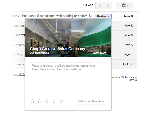 Gmail : Actions rapides - Notation de restaurants